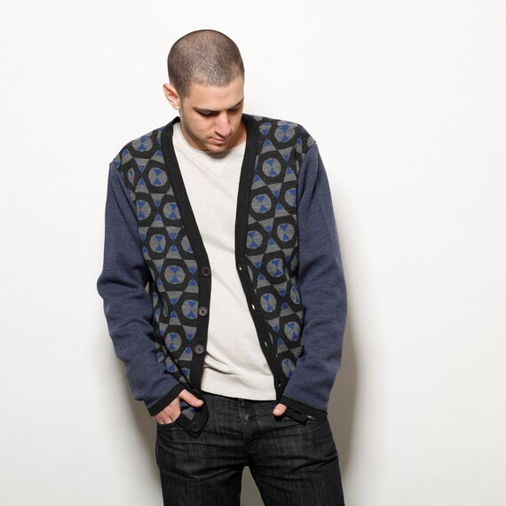 Men cardigan, Mens blue knitted pattern cardigan sweater, open cardigan, retro cardigan, long sleeve knit, winter knit,