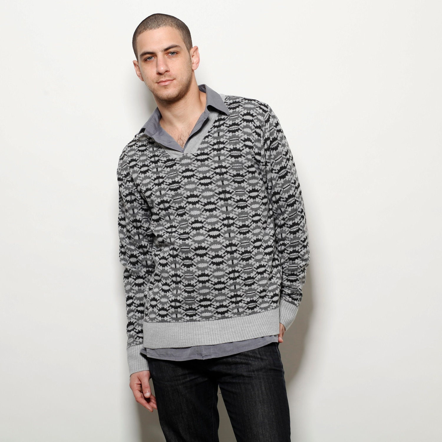 Knitting Mens Sweater : Grey sweater long sleeves knitted top v neck