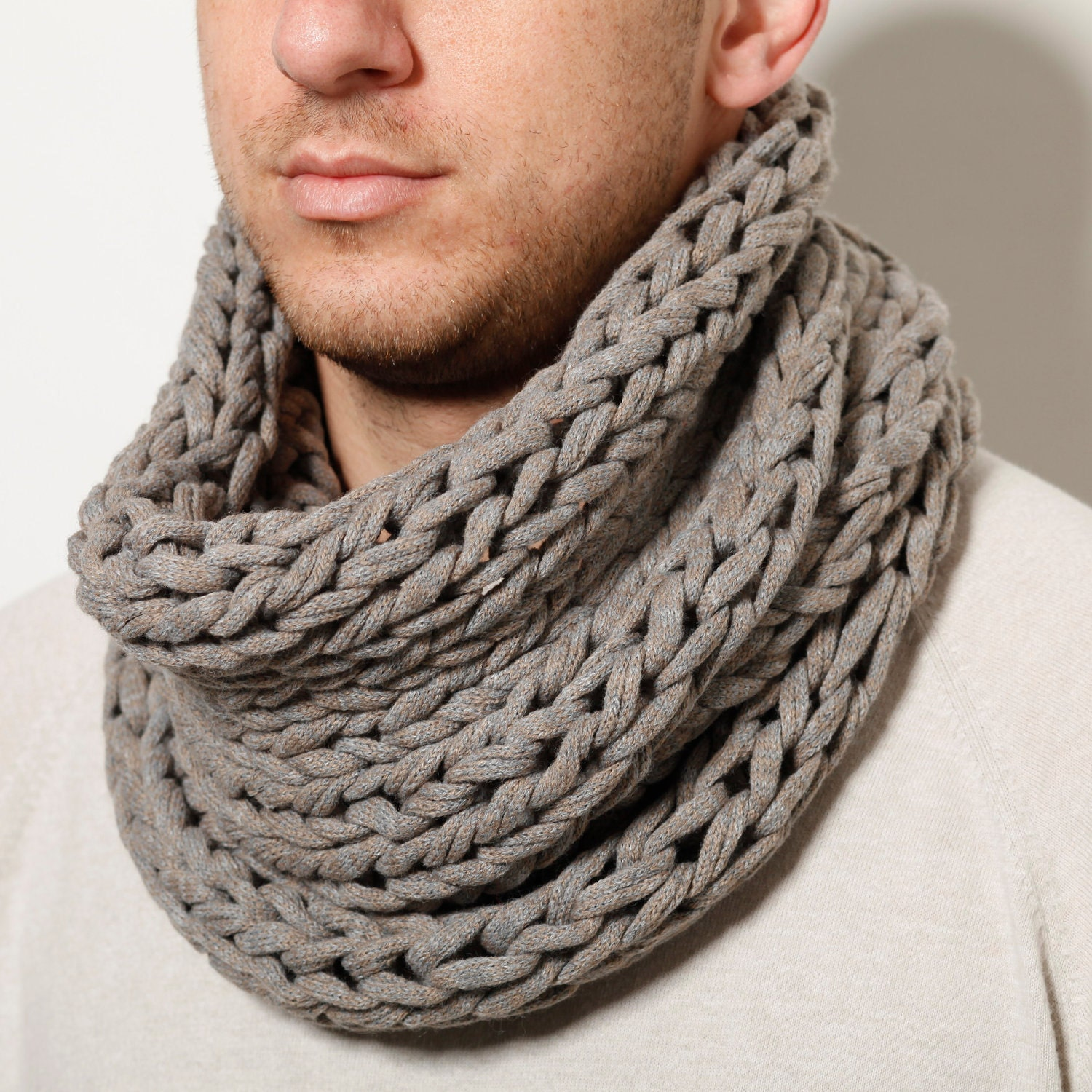 Men hand knitted loop scarf by AndyVeEirn on Etsy Hand Knitted Men's Scarves