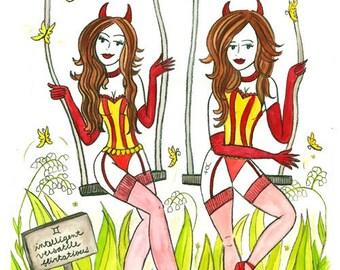 Flirtatious Gemini Twin Beauties 11x17 print