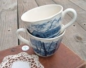 Vintage Blue and White Teacups from England for Cottage Decor