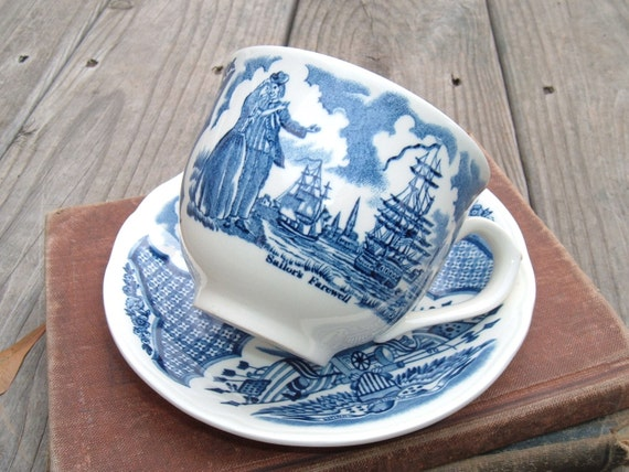 Vintage Alfred Meakin Fairwinds Teacup and Saucer from Staffordshire England in Blue and White
