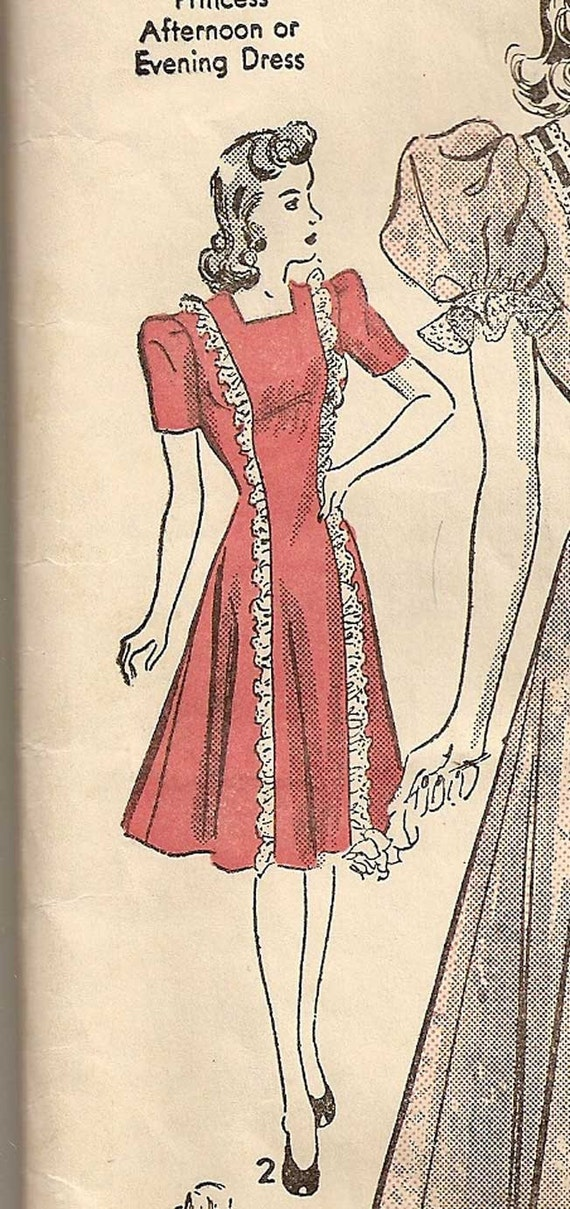 Vintage 1930s 40s Advance 2659 PRINCESS Afternoon or Evening Dress Gown petite