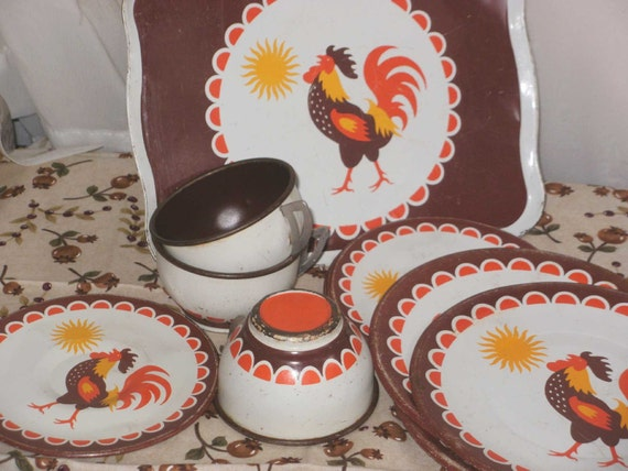 Vintage Toy Teacups Saucers Tray ROOSTER  Sun Tin Dishes  Teaset Tea Set