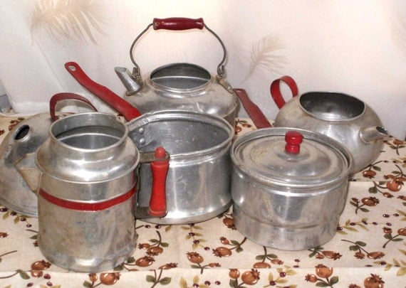 Vintage Toy 7 pieces Tin Dishes Set  Red Handle Aluminum Pots N Pans Coffee Teapot Kettle Double Boiler Wood Handles Instant Collection