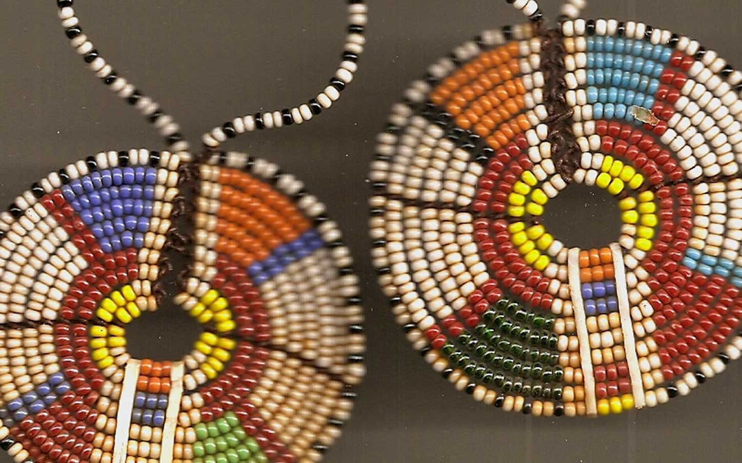Vintage African Beadwork Earrings Pendants Curtain Tie Backs