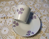 Purple Floral Cup & Saucer Demitasse //
