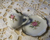Miniature Pink Floral Pitcher & Plate //