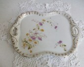 Antique Gold Fleur de Lis Floral Tray Germany Numbered //