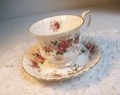 Royal Albert Gold Floral Royal High Tea Cup and Saucer Lavender Rose Pattern //