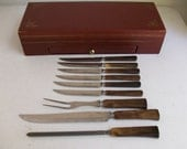 9 Piece Carving Set and Steak Knives & 6 Sheffield Salad Forks and 6 Sheffield Butter Knives ON HOLD