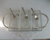 Sheffield Silver Glass Footed 7 Piece Server Dish