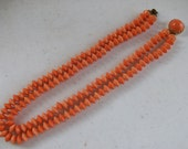 Two Strand Faux Coral Beads Necklace /