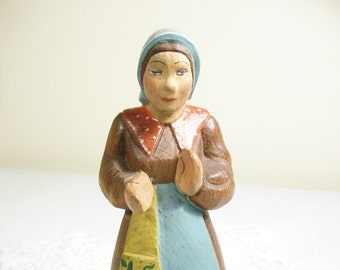 Hand Carved Wooden Painted Woman //