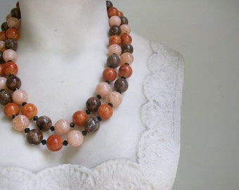 2 Strand Marbled Beads Necklace //