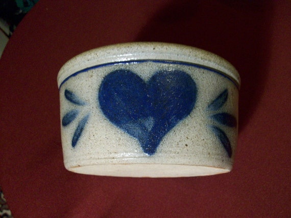 Butter Low Crock Cobalt Blue Stoneware Rowe Pottery //