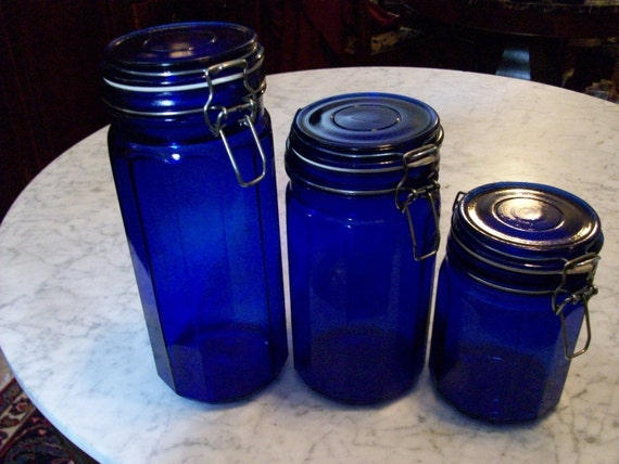 3 Large Storage Cobalt Blue Glass Containers Jars With