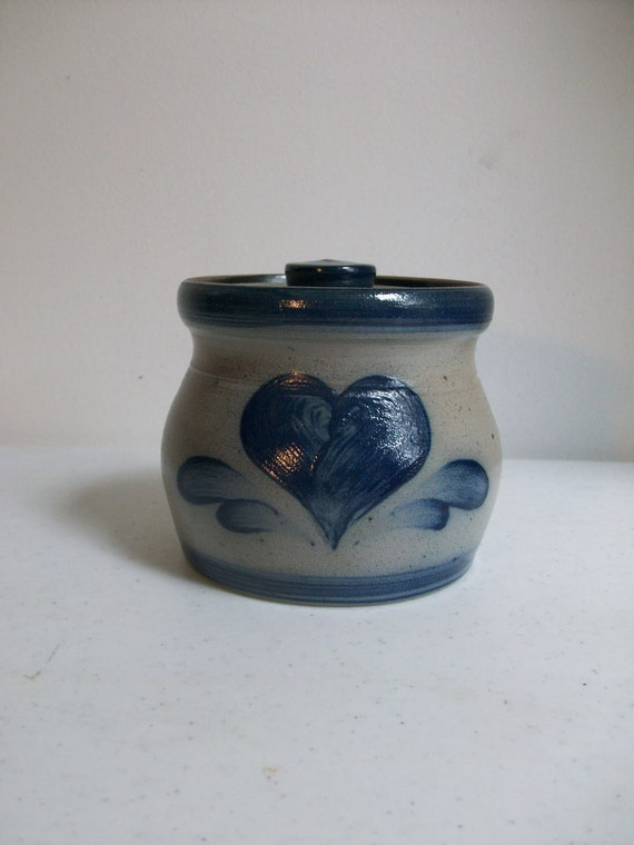 Rowe Pottery Handmade Crock Lid Salt Glaze Cobalt Blue Made in USA