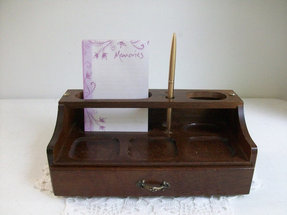 Wood desk organizer office storage supplies drawer cottage - Wood desk organizer with drawers ...