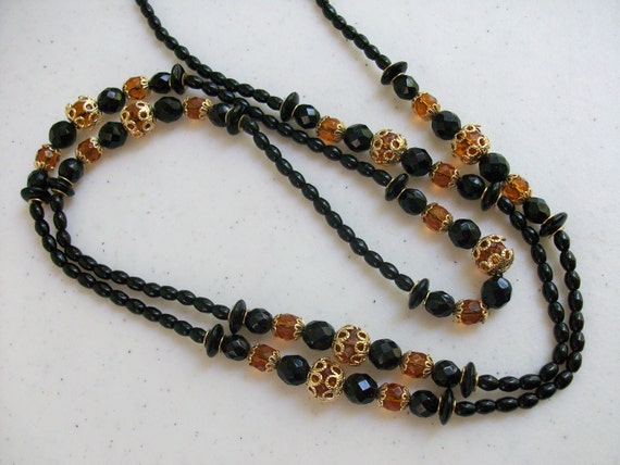 Gold Filigree Black & Amber Bead Necklace Rhinestone Clasp //