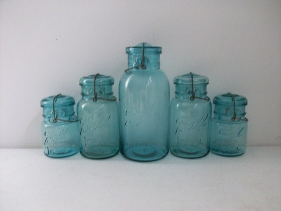 5 Old Blue Glass Jars Lids Ball Ideal Mason 1 Half Gallon 2 Quart Pint Instant Collection Graduated