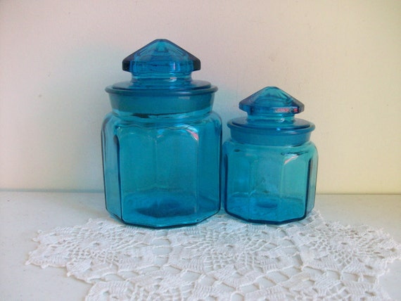 2 Blue Heavy Glass Canister Apothecary Jars and Lids ON HOLD