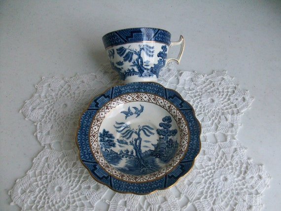 Booths Gold Cobalt Blue and White Tea Cup Saucer Real Old Willow