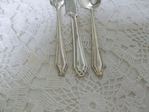 3 Silver Child Youth Spoon Fork Knife