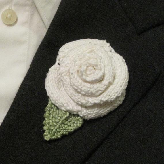 White Rose Brooch Boutonniere Handmade Knit Cotton Yarn