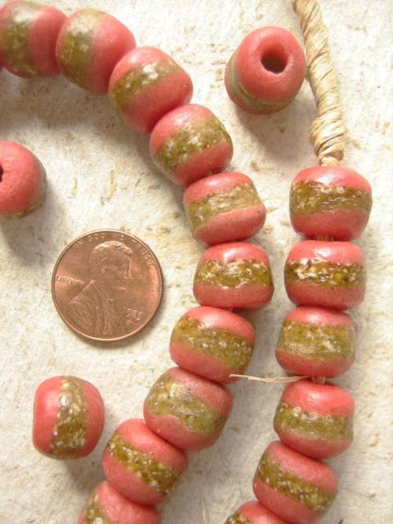African Pink Krobo Glass Beads