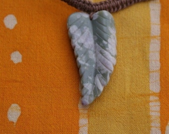 Green Ocean Agate Carved Leaf Pendant Hemp Necklace Hippie Festival Gemstone Jewelry