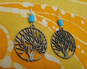 Turquoise Tree of Life Charm Earrings Hippie Tribal Gemstone Jewelry