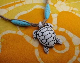 Hawaiian Sea Turtle and Turquoise Hemp Necklace