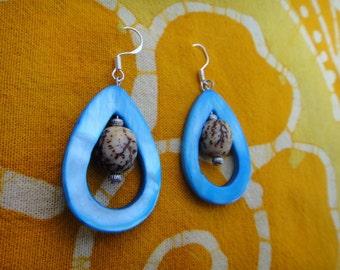 Aqua Teardrop Betel Nut Bead Earrings