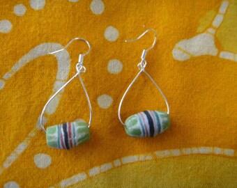 African Pattern Green Glass Bead Teardrop Earrings