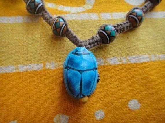 Blue Scarab Peruvian Beaded Hemp Necklace