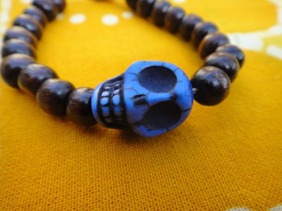 Blue Sugar Skull Prayer Bead Bracelet