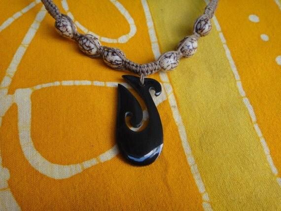 Hawaiian Black Fish Hook Betel Nut Bead Hemp Necklace