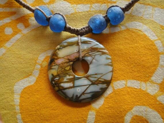 Picasso Jasper Pendant African Beaded Hemp Necklace