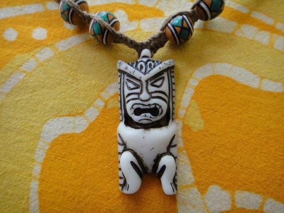 Hawaiian Tiki Amulet Peruvian Beaded Hemp Necklace