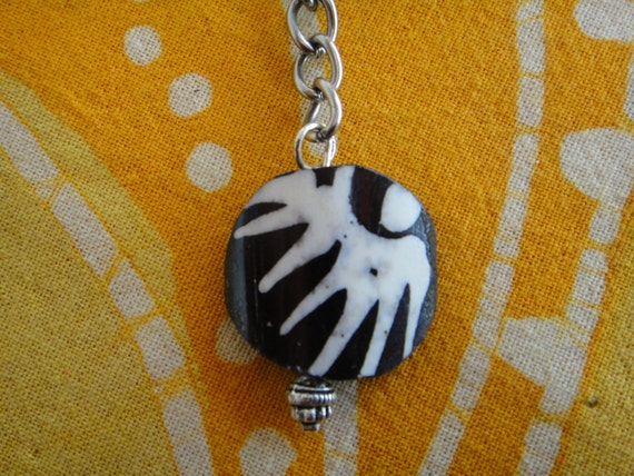African Batik Bone Tribal Charm Keychain