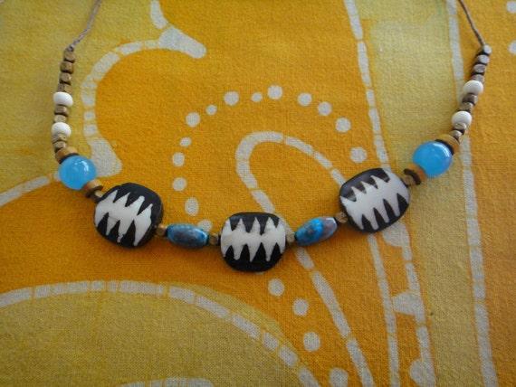 Kenyan Batik and Blue Bead Necklace