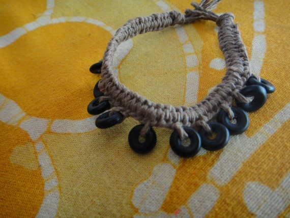 Black Frosted Glass Beaded Hemp Bracelet / Anklet