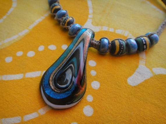Blue Dream African Beaded Hemp Necklace