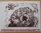 Sea otter and mistletoe, hand printed card