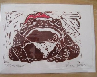 Mistletoad, Hand-printed Holiday Notecard