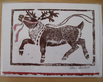 Prancer, Hand-printed Holiday Notecard,