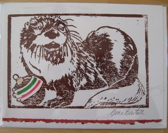 River Otter, Hand-printed Holiday Notecard