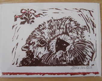 Sea Otter Under the Mistletoe, Hand-printed Holiday Notecard