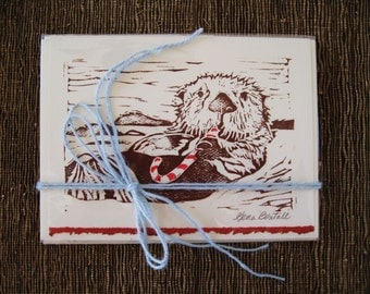 Candy cane sea otter holiday card, pack of 5